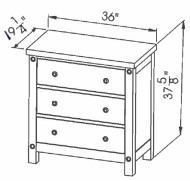 286-403 Three Drawer Chest