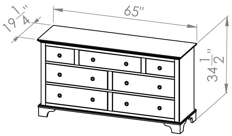 7 Drawer Dresser Grey Roots